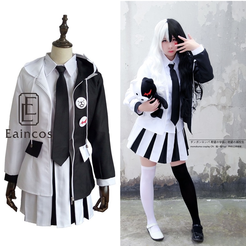 Anime Danganronpa Monokuma Costume Cosplay Uniform Halloween Party Costumes Girls Dress Full Set Custom Made