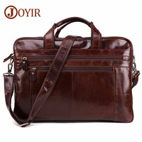 Men's Briefcase Genuine Leather Travel Laptop Totes Shoulder Crossbody Vintage Bags Leather Male Bags Business Computer Handbags