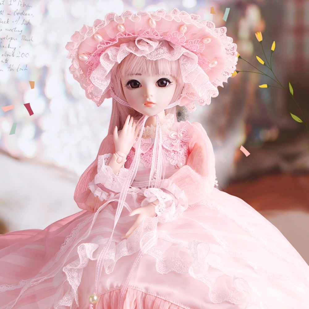 BJD 1/3 Reborn Doll for Girls With Pink Beauty Dress Wigs Shoes Makeup 100% Handmade Beauty Toys Silicone 18 Joint  Kids GiftBJD 1/3 Reborn Doll for Girls With Pink Beauty Dress Wigs Shoes Makeup 100% Handmade Beauty Toys Silicone 18 Joint  Kids Gift