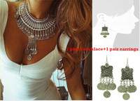 Gypsy Bohemian Beachy Chic Four Clover Statement Necklace Earrings Set Coin Tassel Jewelry Set Turkish Tribal