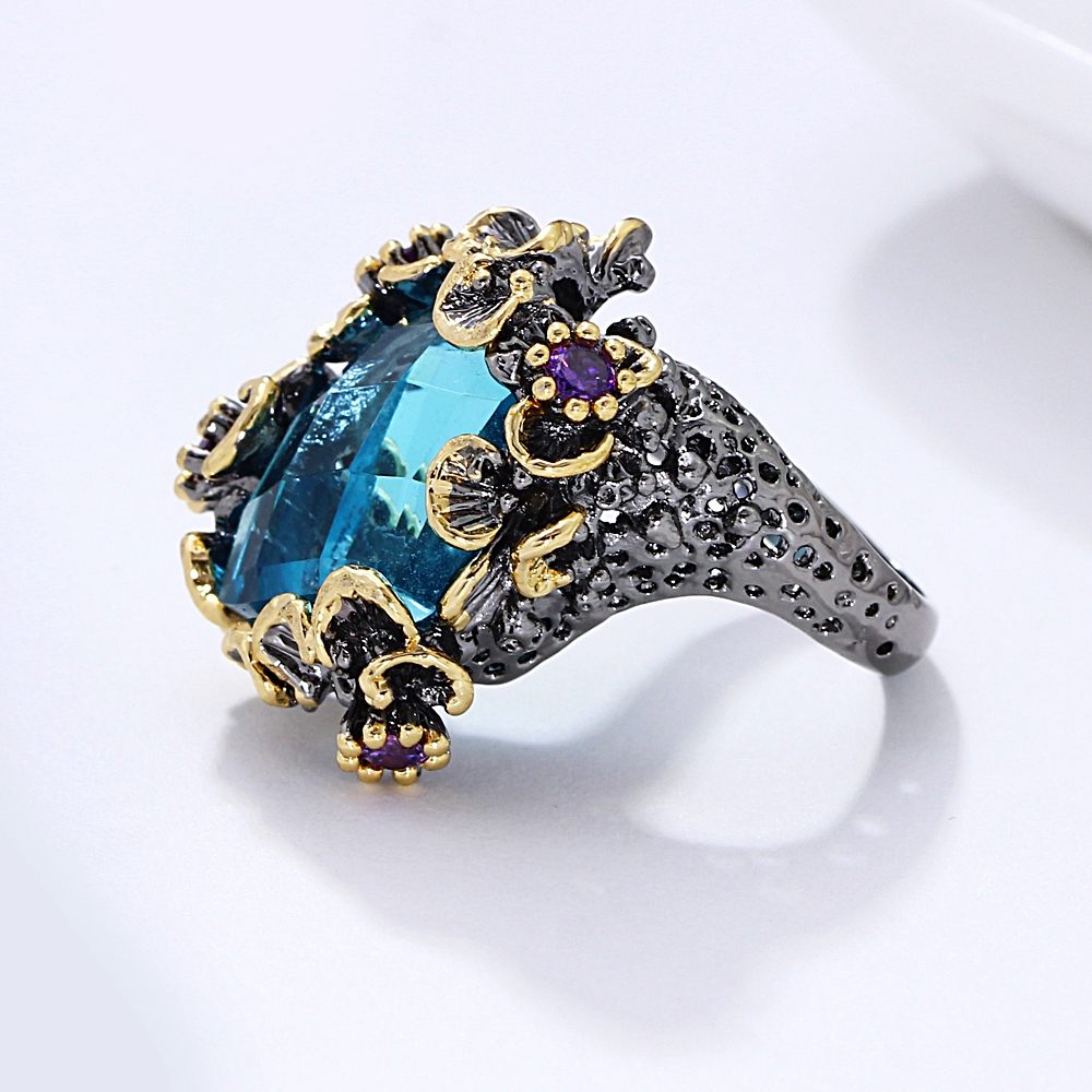 Image 5 - DreamCarnival 1989 New Arrivals Unique Big Rings for Women Blue Zirconia Surround by Purple Flowers Party Gift Drop Ship WA11553Rings   -