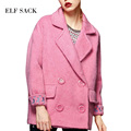 ELF SACK 2016 Winter Embroidery Solid Wool Coats Thick Turn-down Collar Double Breasted Fashion Female Otherwear Occupation Coat