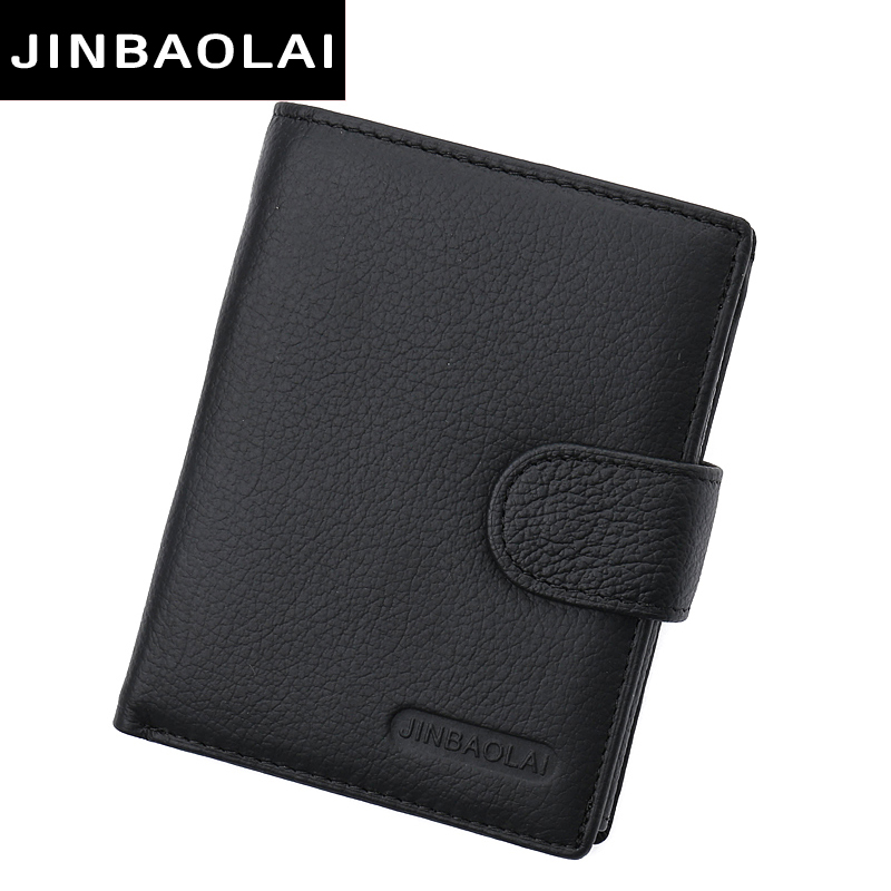 JINBAOLAI Multifunction Leather wallet men with coin pocket business wallets hasp design genuine leather male wallets coin purse