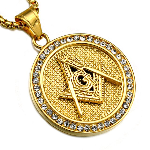 Aliexpress buy hip hop gold color crystal pave masonic hip hop gold color crystal pave masonic necklaces stainless steel bling iced out free mason freemasonry aloadofball Gallery
