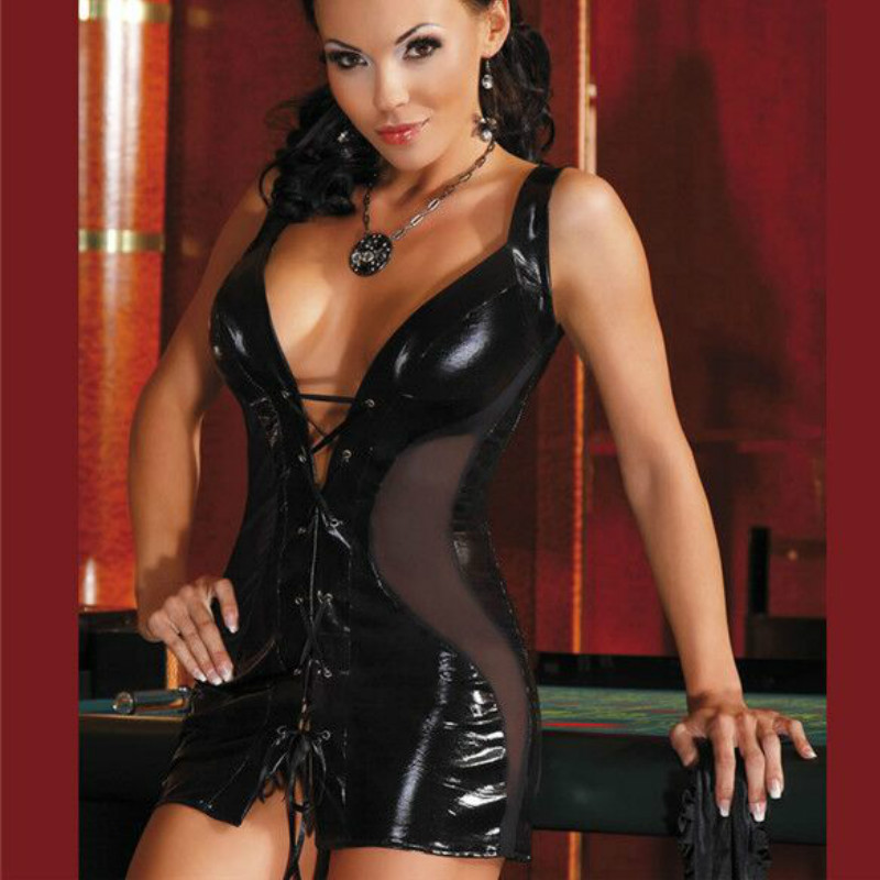 New Sexy Women Faux Leather Bodycon Dresses Black Pvc -9267