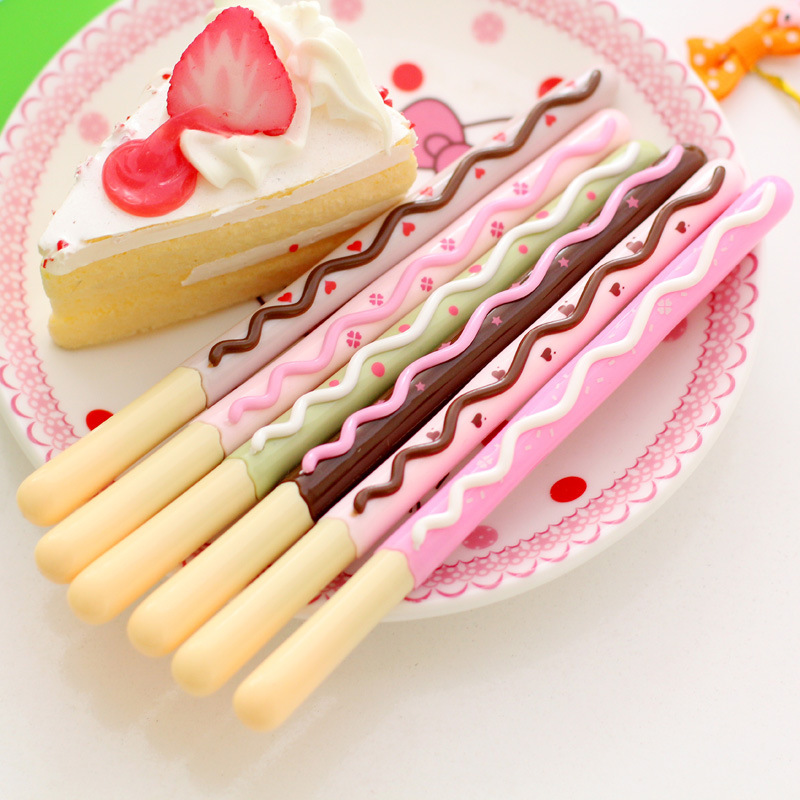 3PCS School Writing Supplies Chocolate Cake Gel Pen New Cute Creative Biscuits Gel Pen Gift Office Stationery