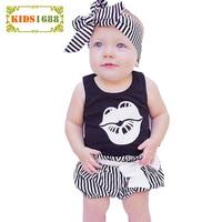 Summer Girl Baby Set 2017 Fashion Letter Pattern T Shirt Stripe Pants Headband Girl Clothing Sets