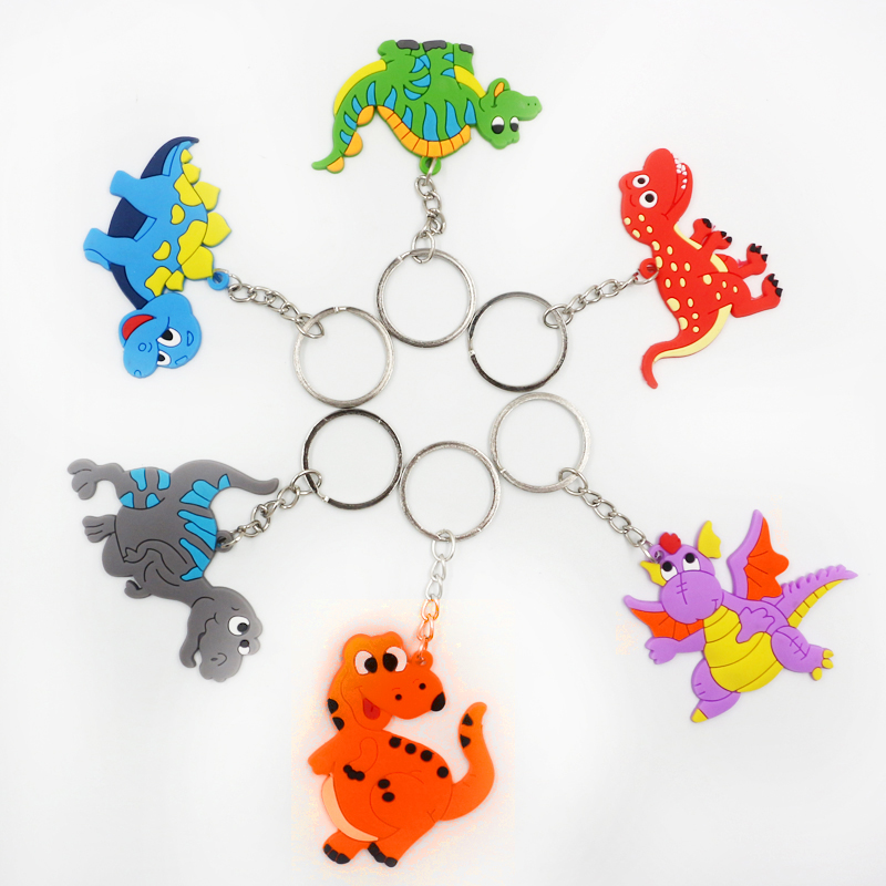 Hot 1PC Cartoon Dinosaur Key Ring Popular Keychain For Kids Gifts Dinosaur Theme Cartoon Creative Party Key Chains