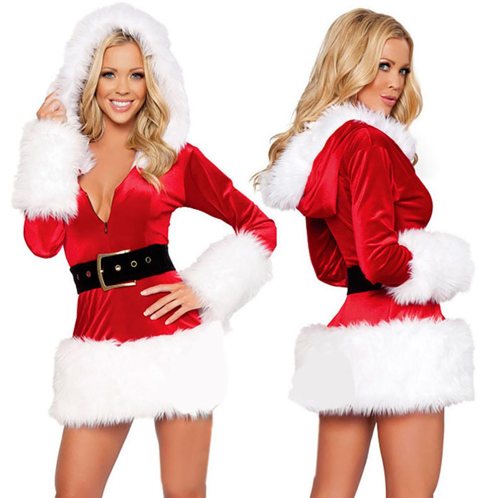 Christmas Costume Female Santa Claus Costume Uniform Sexy Suit Christmas Cosplay Costume Black And White Hooded Dress With Belt