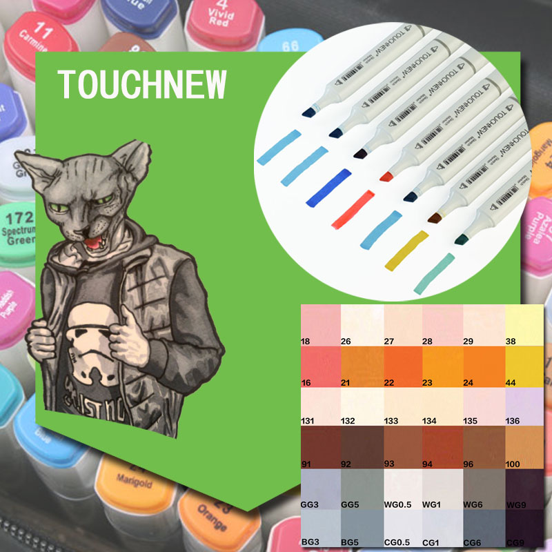US $14 68 |Touchnew Double Ended Brush Markers 12 Manga Colors Skin Tones  Sketch Graphic Design with Pen-in Art Markers from Office & School Supplies