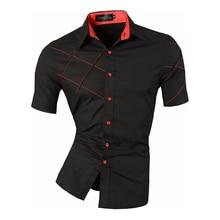 Homens jeansian verão linhas de moda de ornamentação geométrica casual fino ajuste manga curta masculino cores misturadas camisa z003