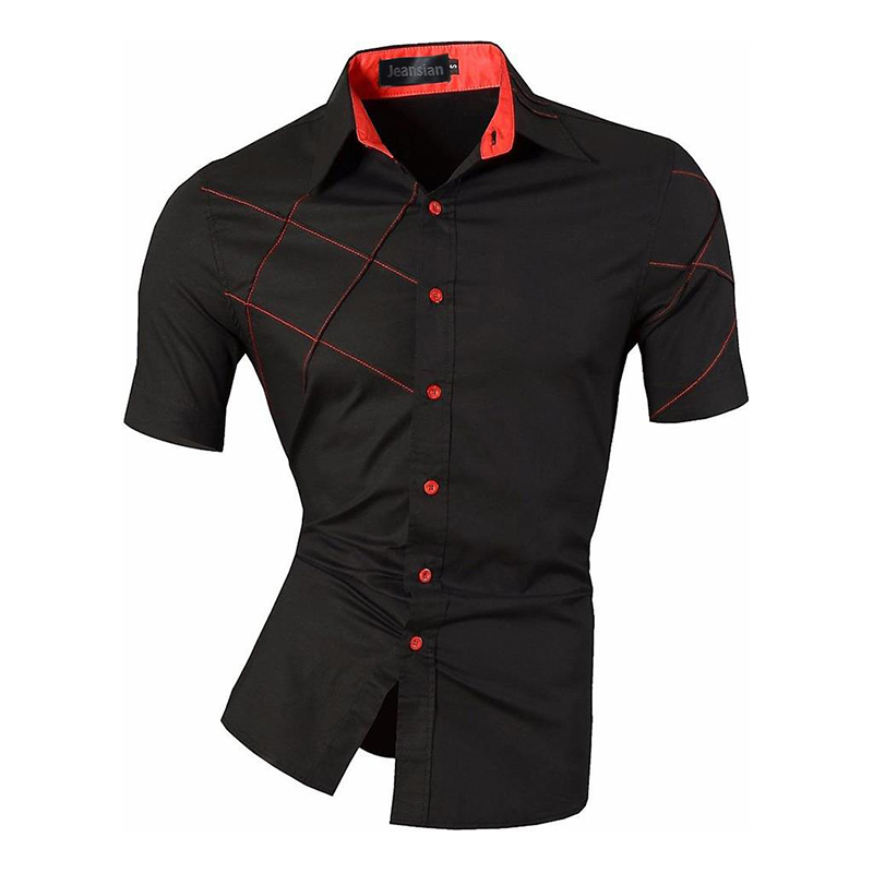 Mens Jeansian Summer Fashion Lines Of Geometric Ornamentation Casual Slim Fit Short Sleeve Male Mixed Colors Shirt Z003
