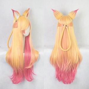 Image 2 - 100 cm lol ahri gumiho 가발 스타 가디언 the nine tailed fox 코스프레 의상 가발 + 가발 모자 + 귀
