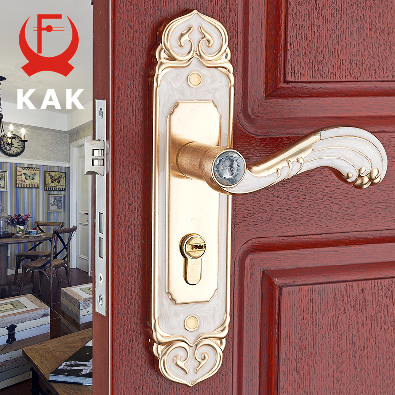 KAK White Amber Mute Room Door Lock Interior Door Handles Lock Anti-theft Gate Lock Fashion European Furniture Lock Hardware цена