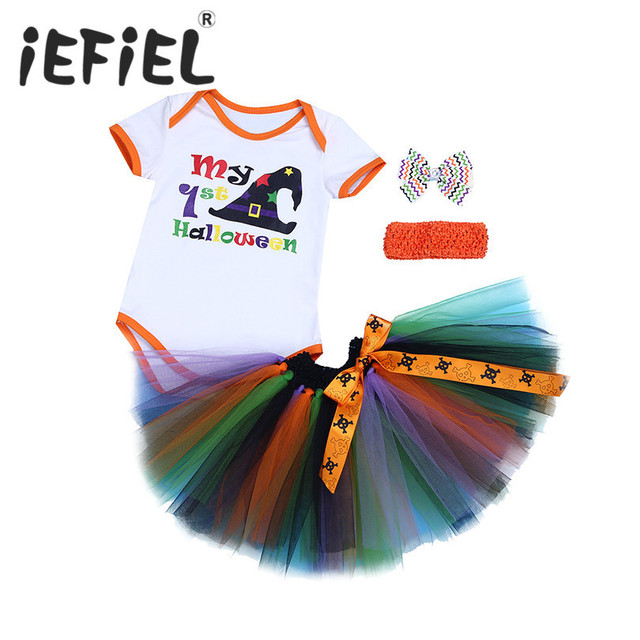3pcs infant baby girls my 1st halloween outfits romper with tutu skirt and headband newborn set