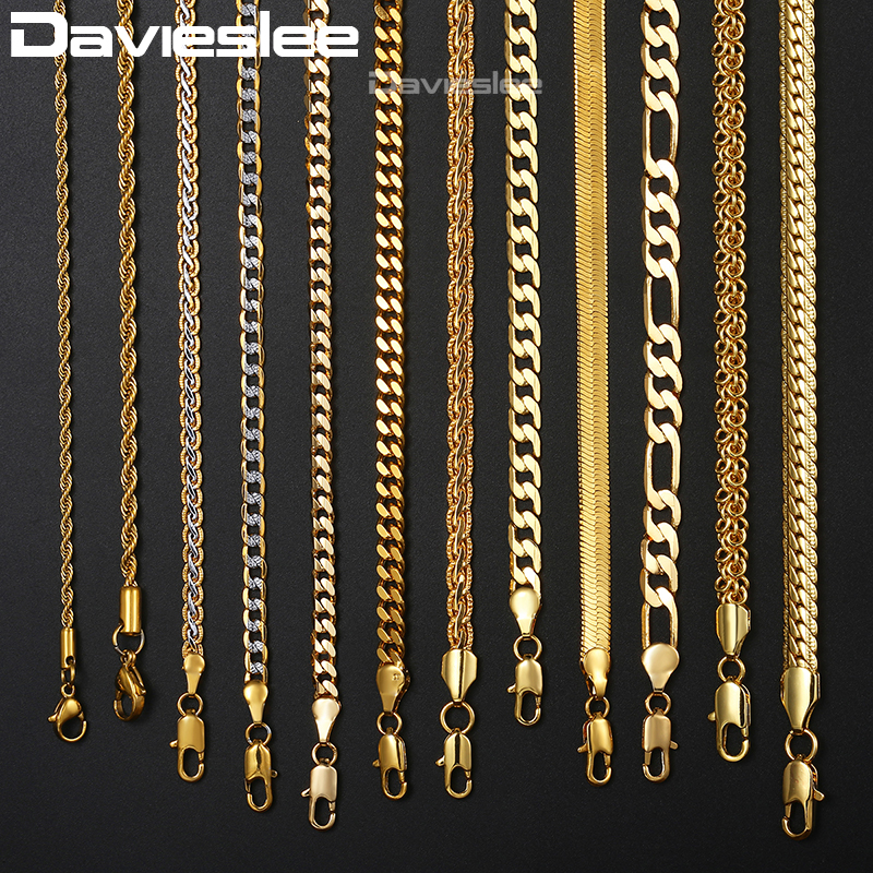 79771bdf2a30e US $1.94 35% OFF|Mens Womens Necklace Chain Gold Filled Figaro Hammered  Snake Curb Gold Necklaces for Women Men Fashion Jewelry 2 3 4 5 6mm  LGNN2-in ...