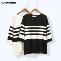 Plus Size Korean Women Stripe Sweater 2017 Autumn And Winter New Loose Black White Striped Large