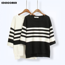 Plus Size Korean Women Stripe Sweater 2019 Autumn and Winter New Loose Black White Striped Large 5XL Female Cotton Pullover