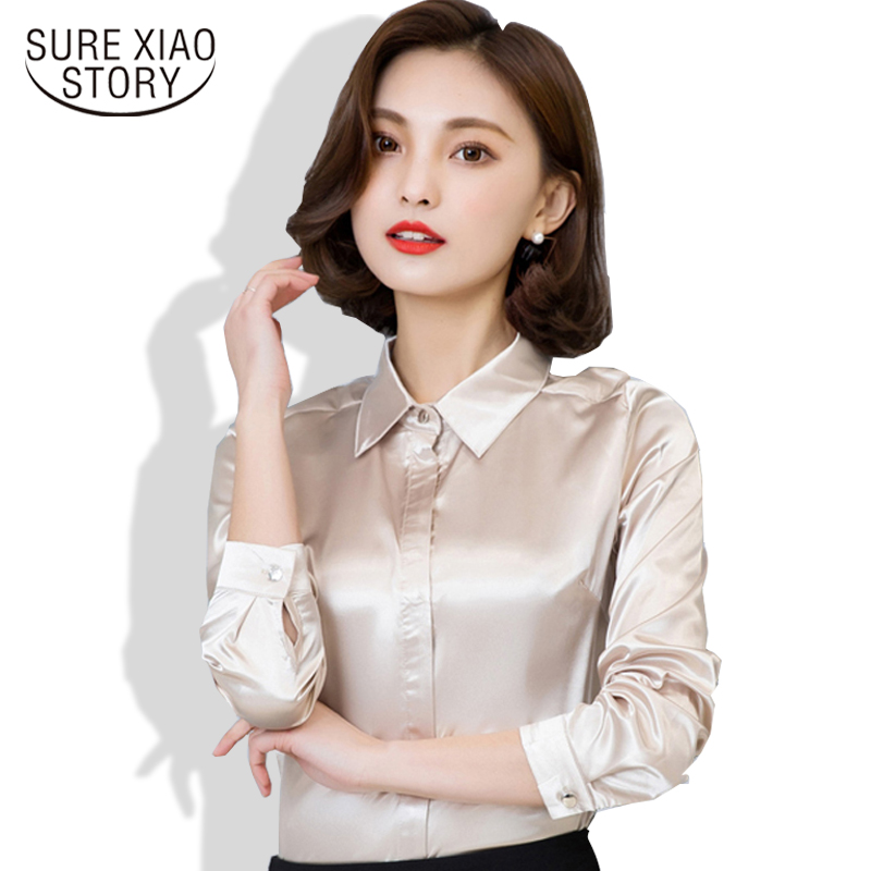 Fashion woman   blouses   2018 Hot Sale Female Casual chiffon   Blouse     shirt   Slim Women tops Silk   Shirt   Plus Size Plus Size 103B 25