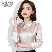 Frühling und Herbst Neue Ankunft 2016 Heißer Verkauf Weiblich Spitze Lässige Silk Bluse Schlank Frauen Silk Hemd Plus Größe Plus Größe 103B 25