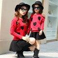 Мода осенние мать и дочь сладкий свитер комплект семейный установлены комплект девушки звезды / в форме сердца любовь вязаный свитер + юбка 2 шт. комплект