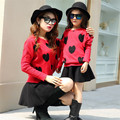 Fashion Autumn mother and daughter sweet sweater Set Family fitted set Girls Stars/Love heart knitted sweater+skirt 2pcs sets