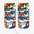 Nueva impresión 3d galaxy/comida de las mujeres calcetines ocasionales de dibujos animados unisex low cut tobillo calcetines caliente de la venta del envío libre
