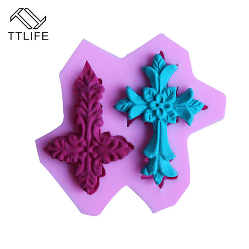 TTLIFE 3D 2 Holes Cross Modeling Silicone Mold Fondant Cake Sugarcraft Decoration DIY Tools Soap Chocolate Kitchen Baking Moulds in Cake Molds from Home Garden