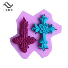 TTLIFE 3D 2 Holes Cross Modeling Silicone Mold Fondant Cake Sugarcraft Decoration DIY Tools Soap Chocolate Kitchen Baking Moulds