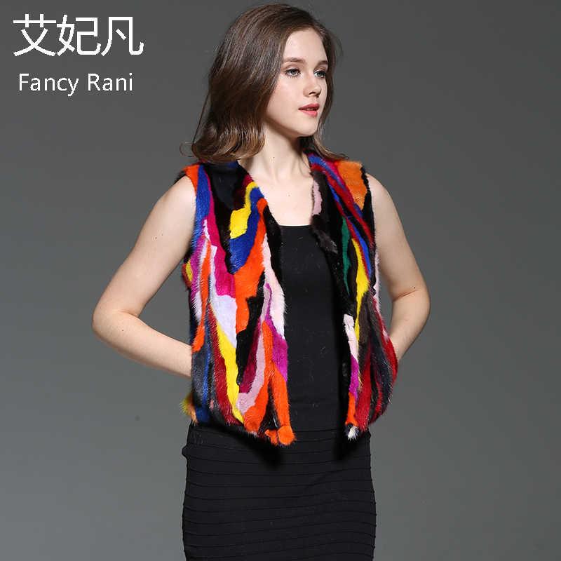 Kadınlar Gerçek Vizon Kürk Yelek Sonbahar Hakiki Kürk Ceket Kolsuz Kız Yelek Renkli Kısa Tarzı Ceketler Doğal Vizon Kürk Yelek