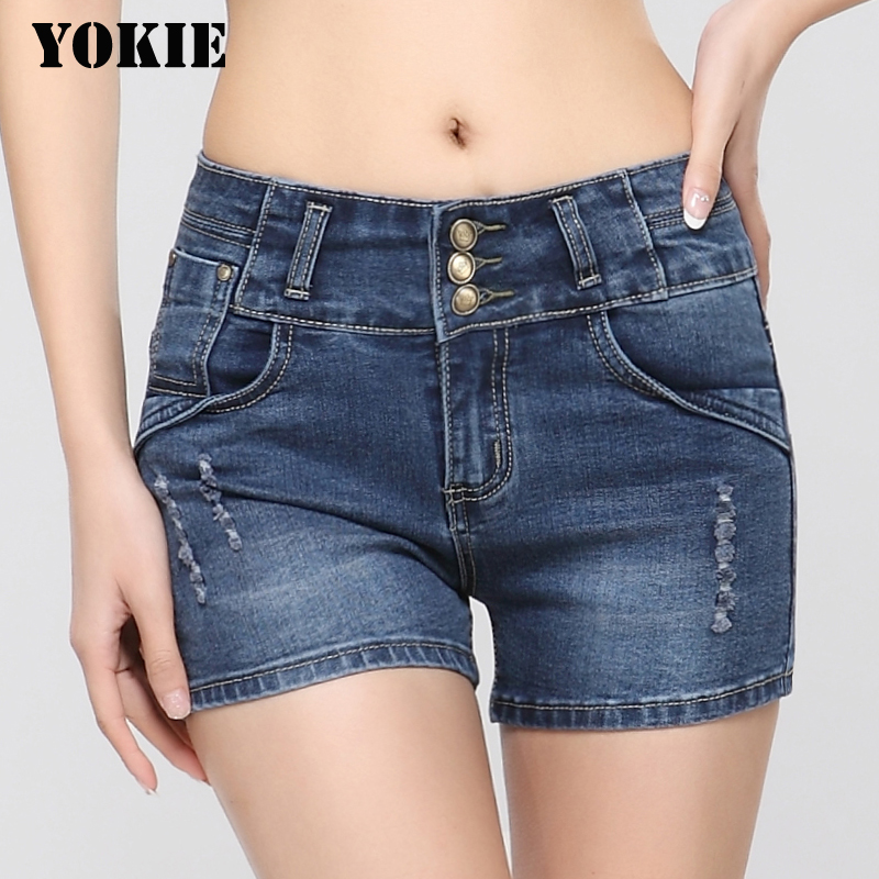 New 2016 Summer Fashion Women Shorts Plus Size High Waist Slim Denim Shorts Women Single-breasted Hot Sexy Jeans Shorts chicd 2017 new women basic shorts summer fashion slim mid waist white letter printing pockets denim jeans shorts mujer xp377
