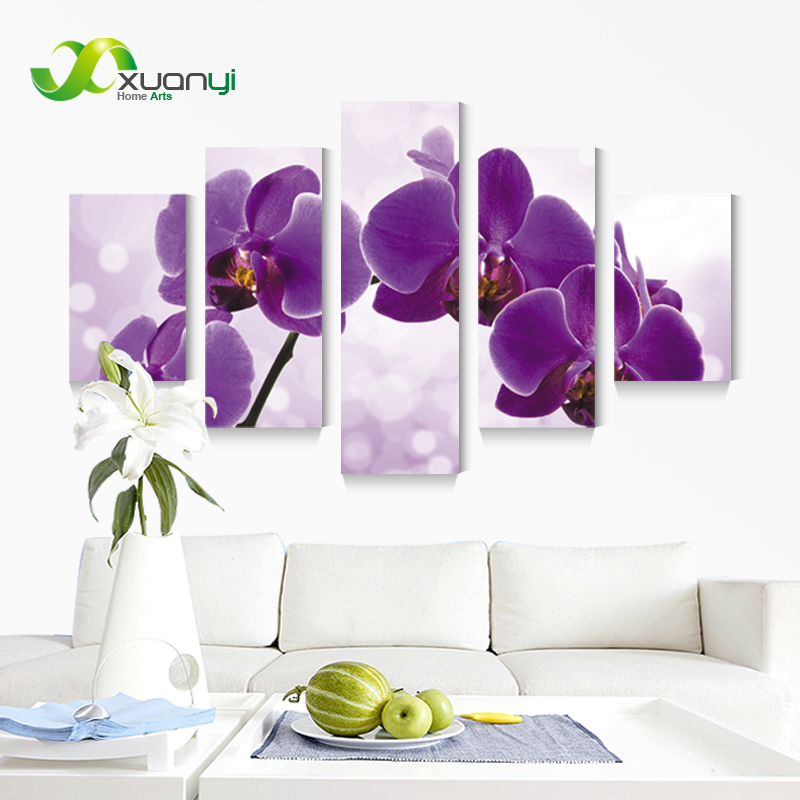 Purple Vegetable Wall Art: 5 Panel New Modern Purple Flower Painting Picture Cuadros