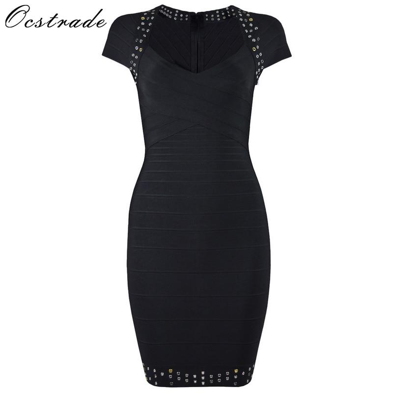 Ocstrade 2017 Bodycon HL Bandage Dress Womens Eyelet Dress Striped Short Sleeve V Neck Sexy Black Party Dress Bandage Wholesale цена