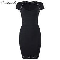 Ocstrade 2017 Bodycon HL Bandage Dress Womens Eyelet Dress Striped Short Sleeve V Neck Sexy Black