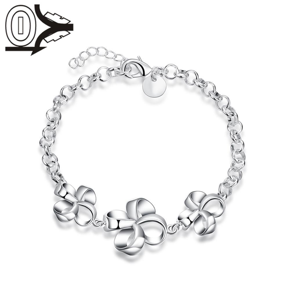 Free Shipping Silver Plated Bracelet,Latest Women Classy Design,Three Windmill Flowers L ...
