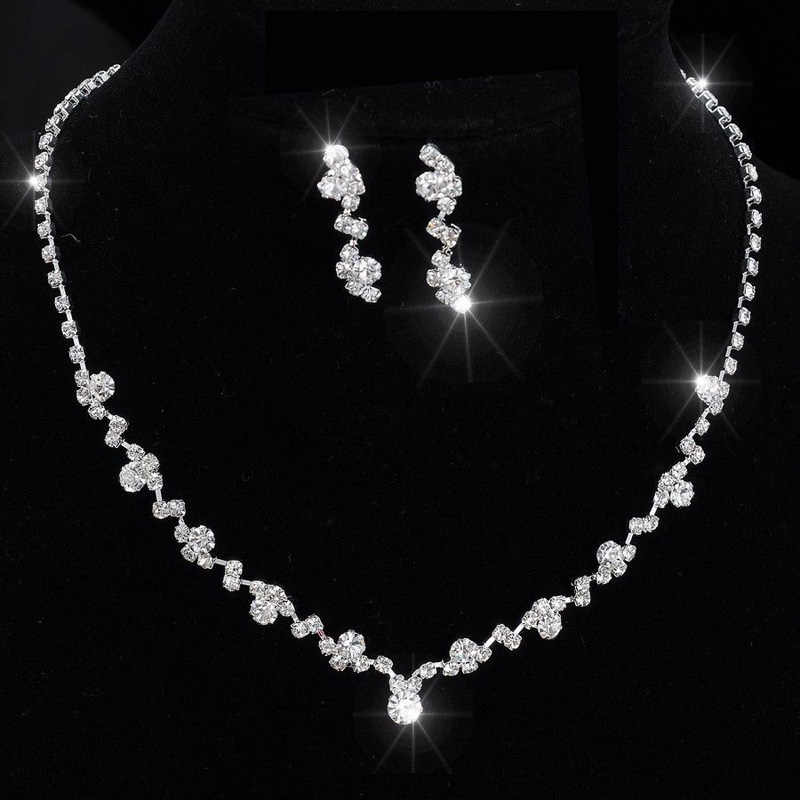 Fashion Women Alloy Rhinestone Necklace Earrings Set Wedding Bridal Lady Dangle Earring Necklaces Jewelry Accessories Gift