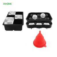 2PCS Set Silicone Frozen Ice Ball Makers Square Ice Cubes Tray Set Sphere Ice Mold Ice