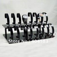 Free shipping 16 Slot Black Acrylic Watch Display Stand Rack Holder tabletop show stand Rack