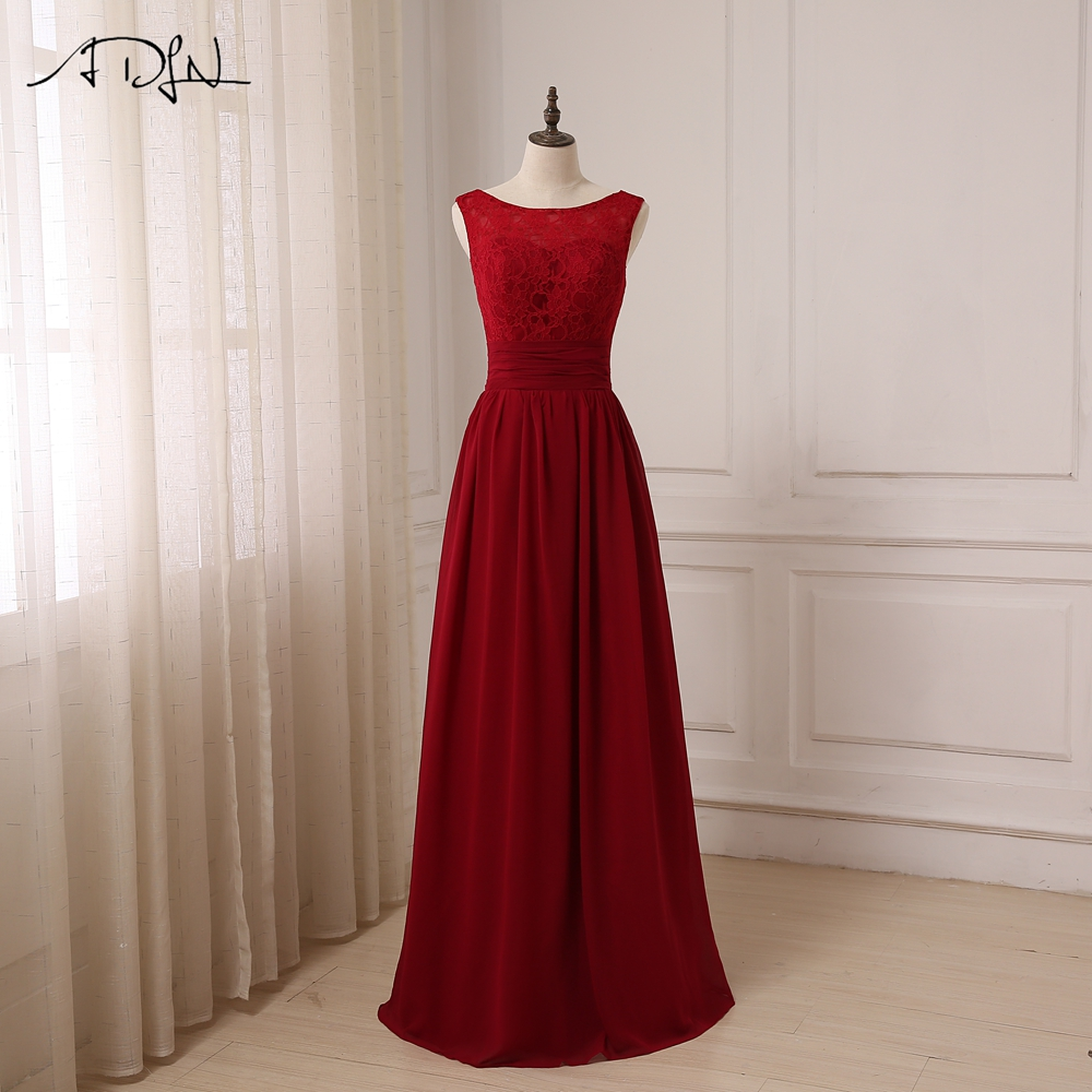 ADLN Cheap Cap Sleeve Long   Bridesmaid     Dress   Floor Length Lace Boat Neck Lady Chiffon   Bridesmaid   Gown