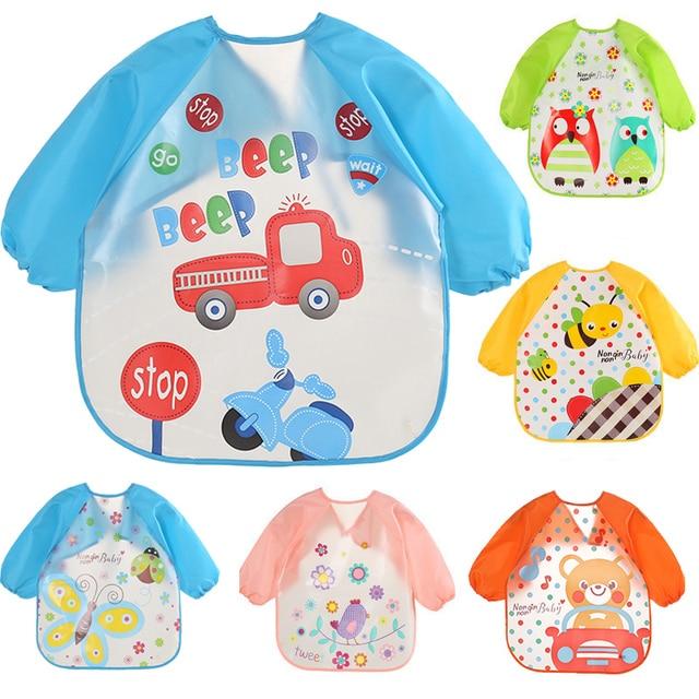 Baby Bibs Infant Burp Cloths EVA Toddler Scarf Feeding Smock Long Sleeve Waterproof Coverall Animals Baby Feeding Accessories