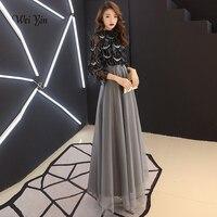 weiyin Black Muslim Evening Dresses A line 3/4 Sleeves Floor Length Sequined Dubai Saudi Arabic Long Elegant Evening Gown WY1143