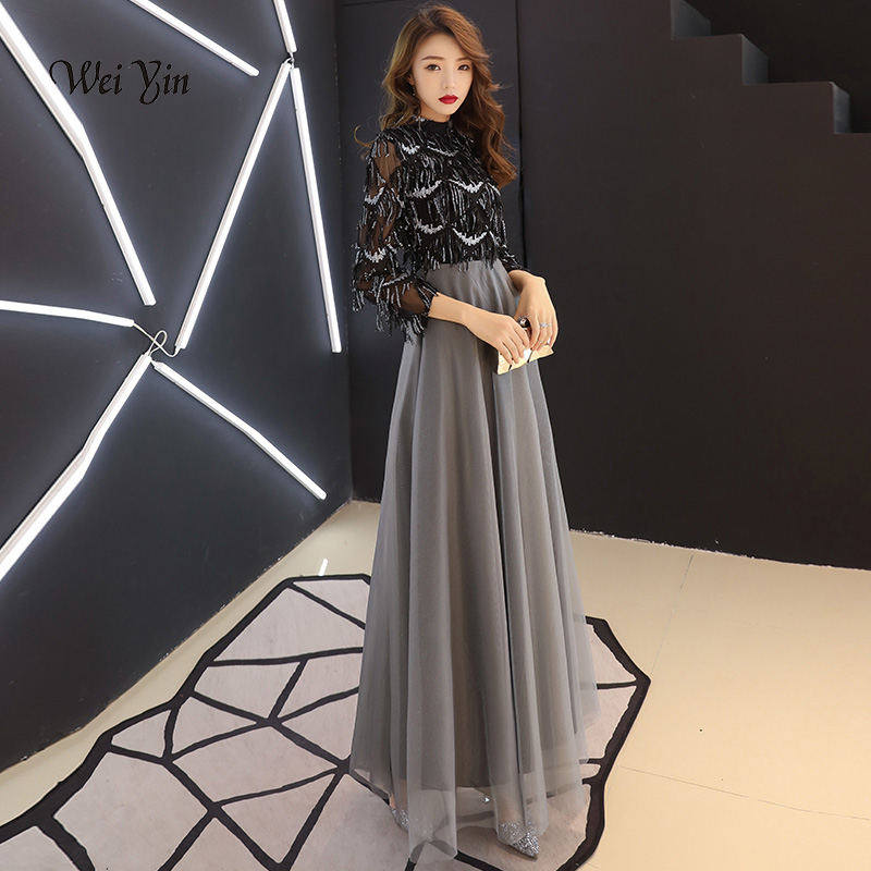 weiyin Black Muslim   Evening     Dresses   A-line 3/4 Sleeves Floor Length Sequined Dubai Saudi Arabic Long Elegant   Evening   Gown WY1143