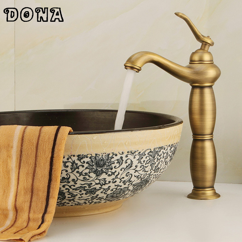 Free Shipping Antique bronze bathroom faucet single handle vessel sink mixer tall hot and cold tap Wholesale and retail DONA4039Free Shipping Antique bronze bathroom faucet single handle vessel sink mixer tall hot and cold tap Wholesale and retail DONA4039