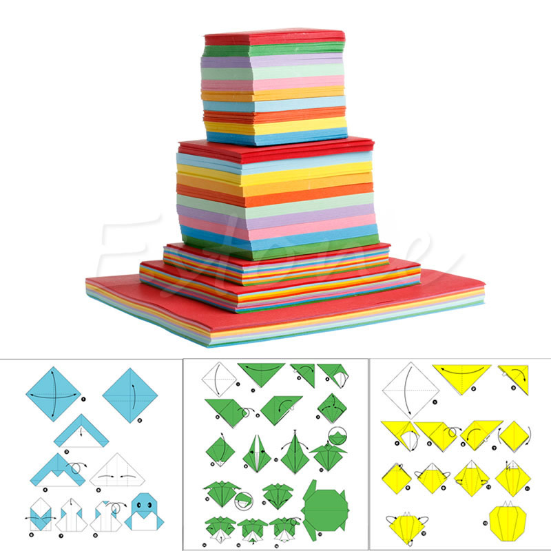 Colorful Square Double Sided Origami Folding Lucky Wish Paper Crane Craft Sheets