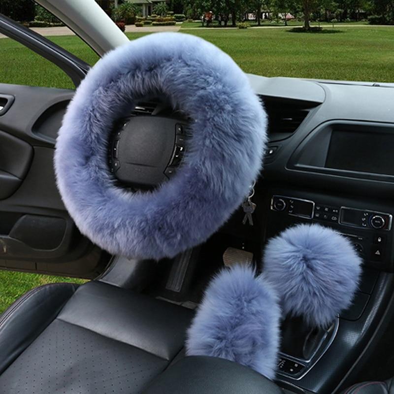 3pcs / set hiver laine couverture de volant de voiture longue laine - Accessoires intérieurs de voiture - Photo 3