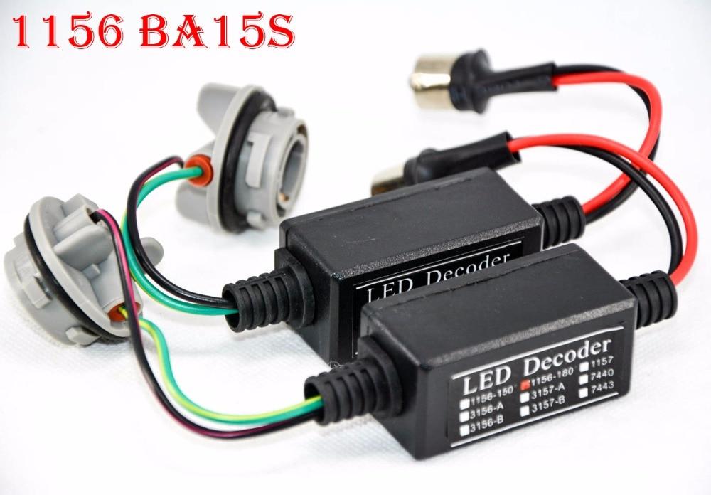 2PCS 1156 BA15S LED Bulbs Power 8W Error Free Canbus Canceler Adapter Decoder Fog Turn Brake Signal Anti-Hyper Flashing Blinking
