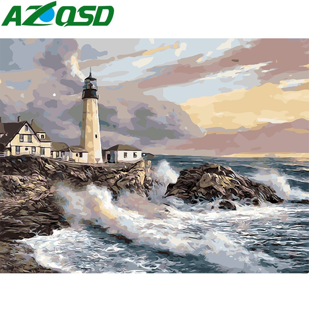 AZQSD Painting By Numbers Frameless 40x50cm Bay Lighthouse Oil Painting Picture By Numbers On Canvas Gouache Painting Szyh160