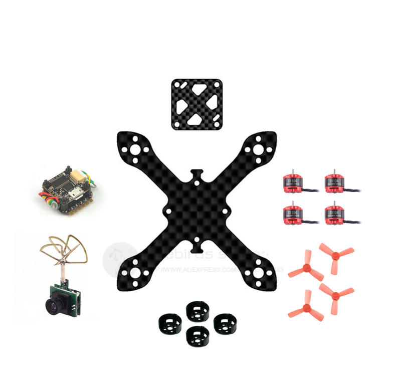 DIY FPV brushless indoor mini drone frame kit PNP 70mm pure carbon quadcopter frame 16mm x 16mm micro F3 fly tower D1104 7500KV eyas 55 7mm 8mm pure carbon fiber brush coreless quadcopter frame for diy fpv micro indoor mini drone with camera