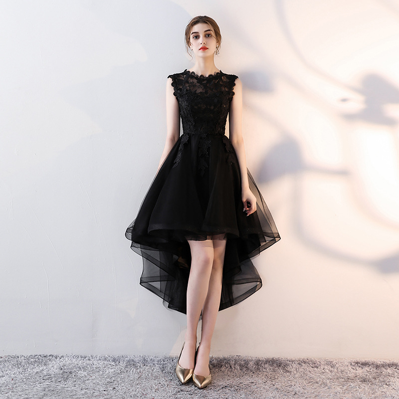 Holievery Organza High Low   Cocktail     Dresses   with Lace Appliques 2019 Black Silver Burgundy Champagne Midi Party   Dress   Prom Gown