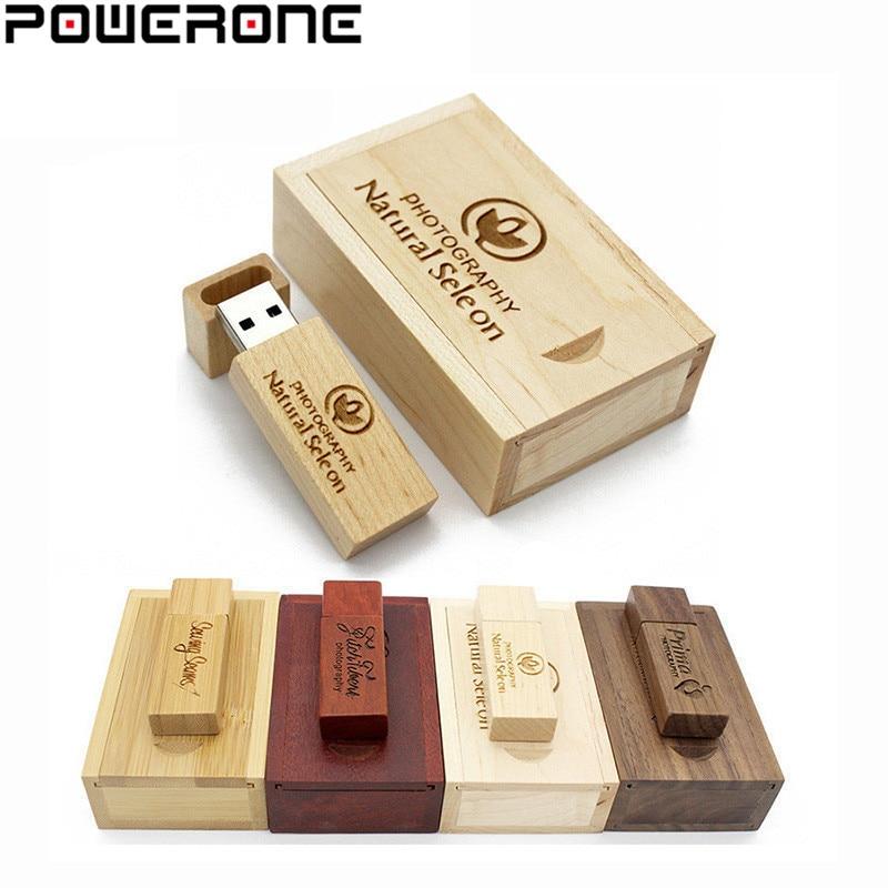 US $1.91 52% OFF|POWERONE (über 10 PCS freies LOGO) holz USB + box USB  Stick ahorn holz usb stick 64 GB 8 GB 16 GB 32 GB Pen Drive memory Stick in  ...